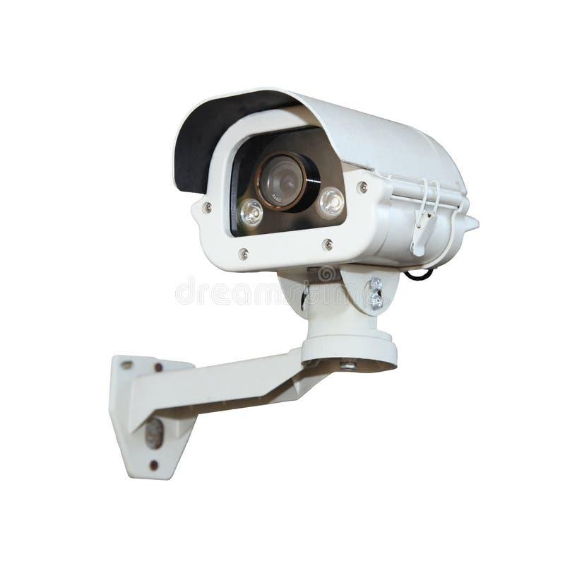 De veiligheidscamera of kabeltelevisie isoleert op witte achtergrond stock afbeeldingen
