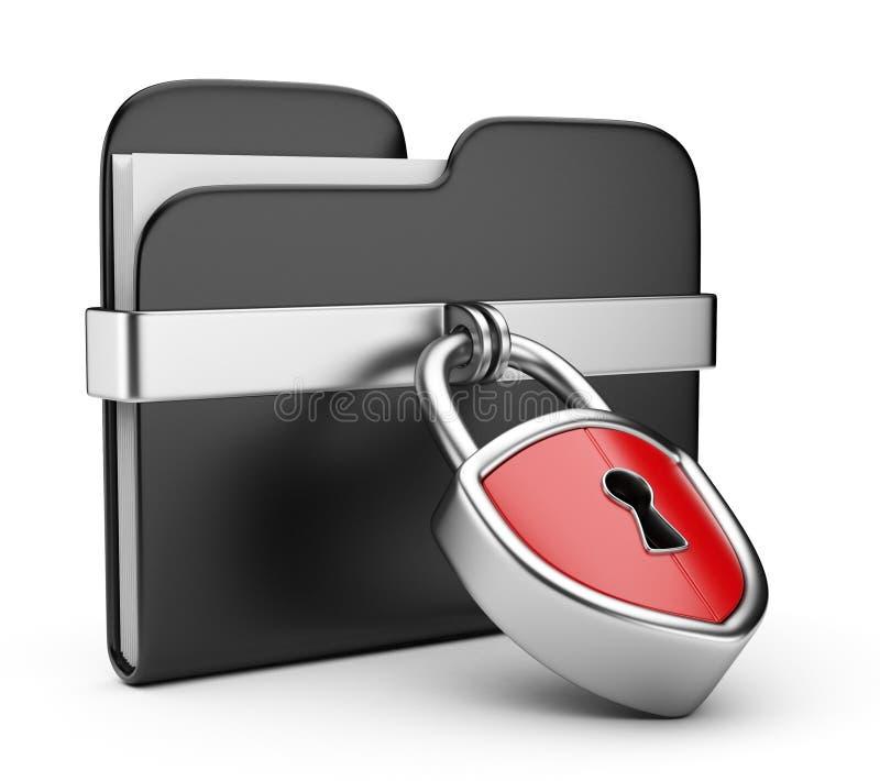 De veiligheidsconcept van gegevens. 3D omslag en slot royalty-vrije illustratie