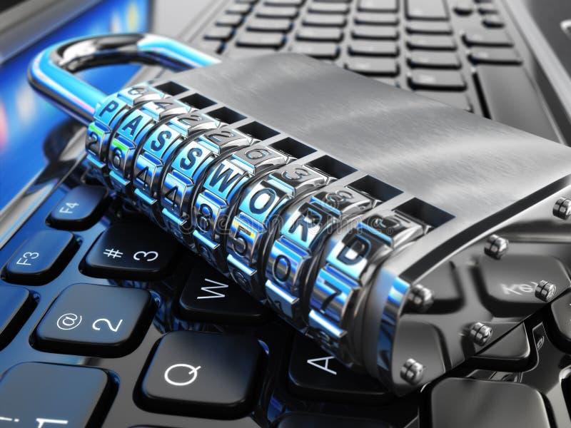 De veiligheidsconcept van Internet Laptop en veilig slot met wachtwoord stock illustratie