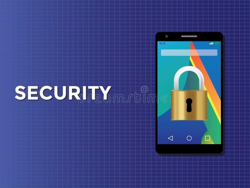 De veiligheidsconcept van telefoonsmartphone met hangslot stock illustratie
