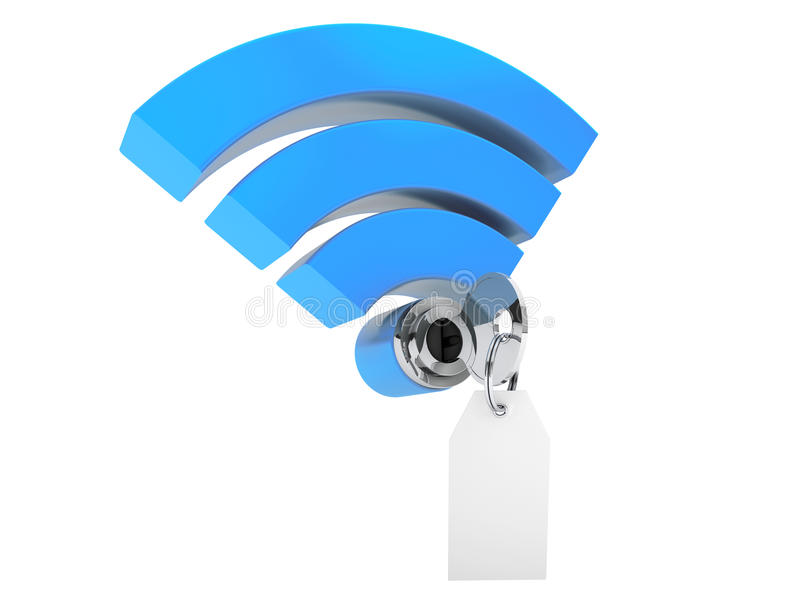 De veiligheidsconcept van WiFi Internet 3d symboolwifi en sleutel met blan stock illustratie