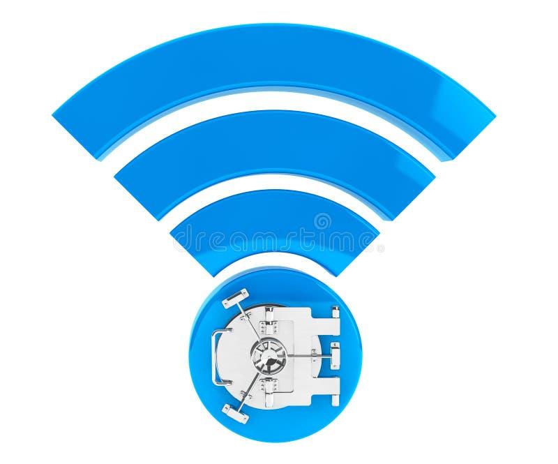 De veiligheidsconcept van WiFi Internet 3d symboolwifi met Bank Veilige Deur stock illustratie