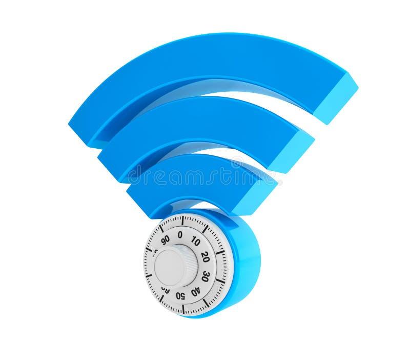 De veiligheidsconcept van WiFi Internet 3d symboolwifi met Hangslot royalty-vrije illustratie