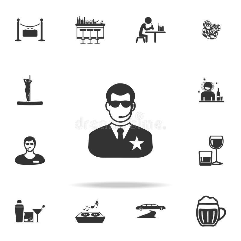De veiligheidspictogram van de nachtclub Gedetailleerde reeks van de nachtclub en disco pictogrammen Het grafische ontwerp van de vector illustratie
