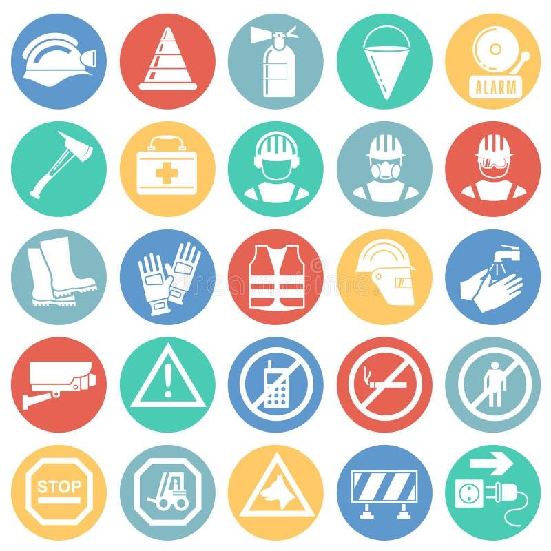 De veiligheidspictogrammen op kleur omcirkelt achtergrond voor grafisch en Webontwerp, Modern eenvoudig vectorteken Het concept v vector illustratie
