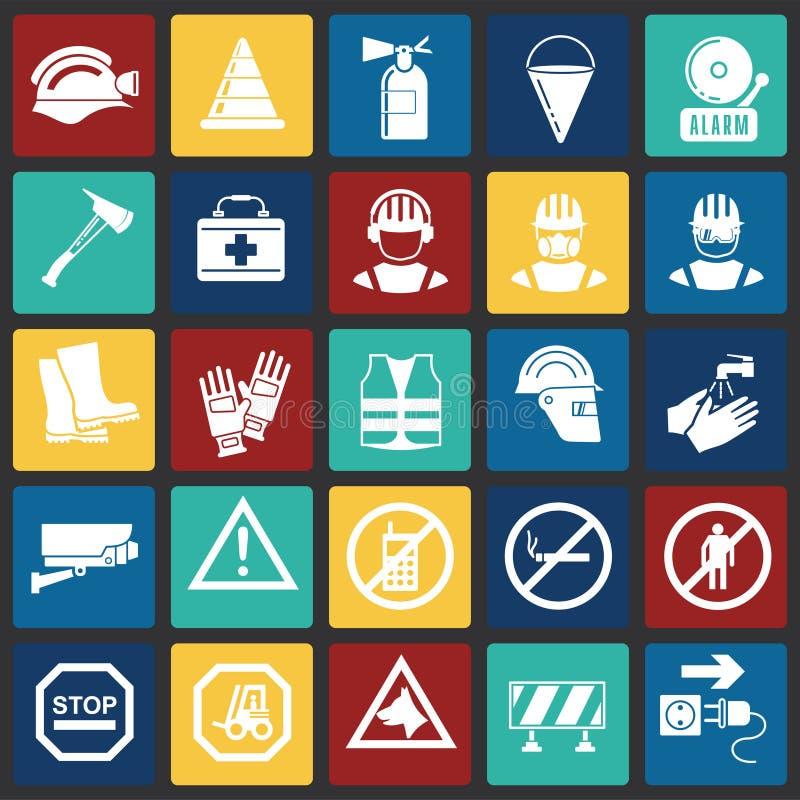 De veiligheidspictogrammen op kleur regelt achtergrond voor grafisch en Webontwerp, Modern eenvoudig vectorteken Het concept van  stock illustratie