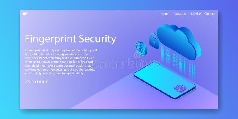 De veiligheidstechnologie van de vingerafdrukbiometrie op een smartphone met de diensten van de Wolkengegevensversleuteling Het o vector illustratie