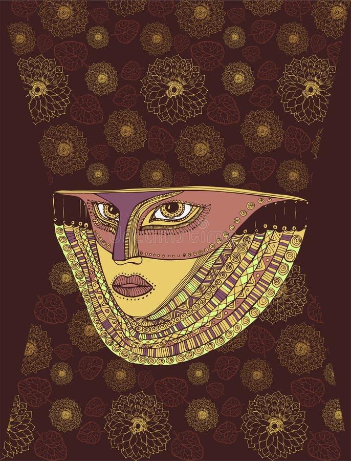 De Venetiaanse bloemen van de masker jonge vrouw whith voor Carnaval stock illustratie