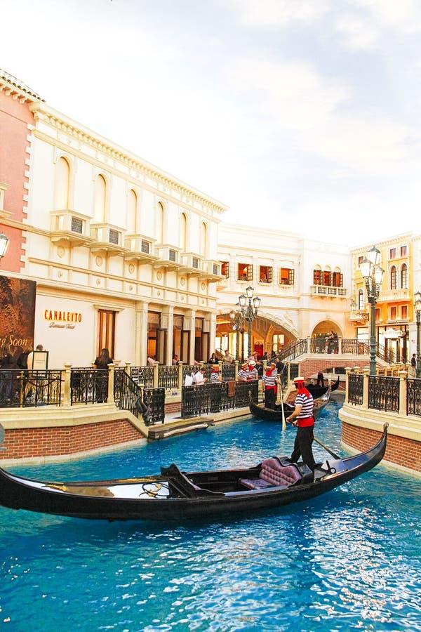 De Venetiaanse hotelreplica van een Groot kanaal in Las Vegas stock foto's