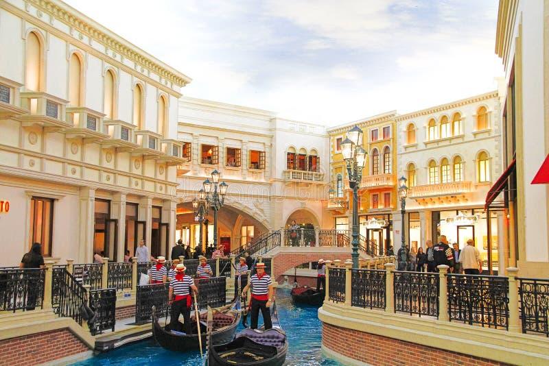 De Venetiaanse hotelreplica van een Groot kanaal in Las Vegas stock afbeelding