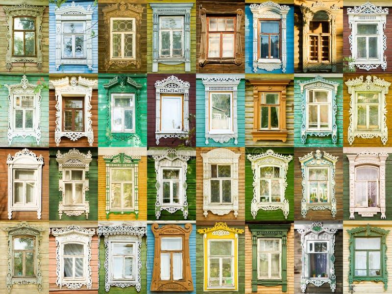 De vensters van de verscheidenheid van Russische stad Rostov royalty-vrije stock afbeelding