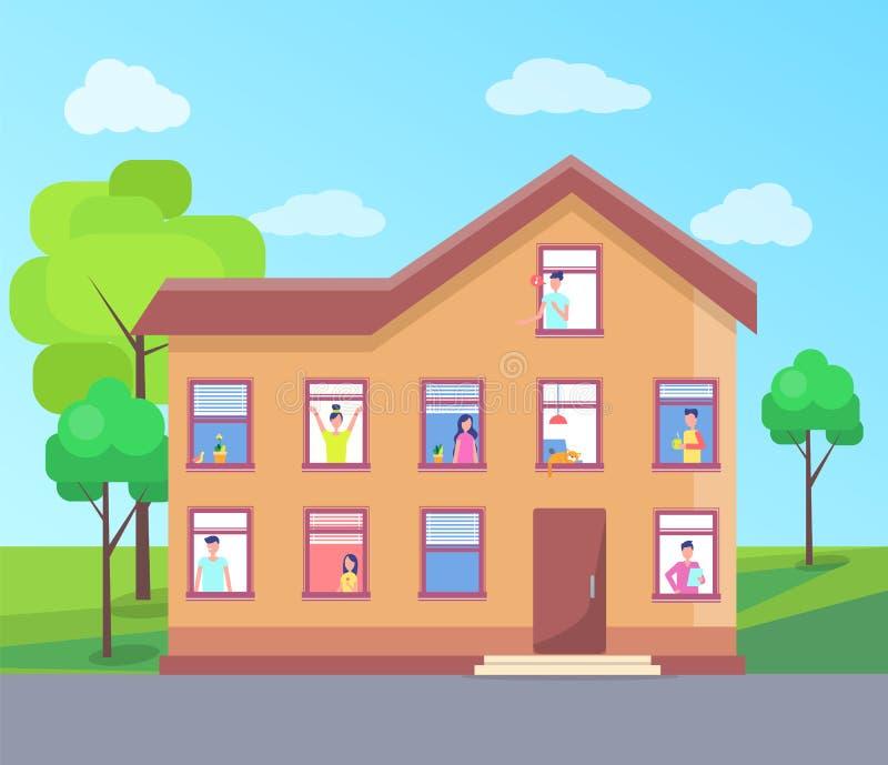 De Vensters de Vectorbouw met drie verdiepingen van Huismensen stock illustratie