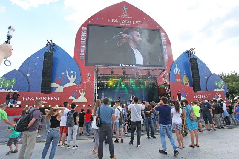 De Ventilator Fest op Musheuvels, Moskou van FIFA 2018 stock foto's