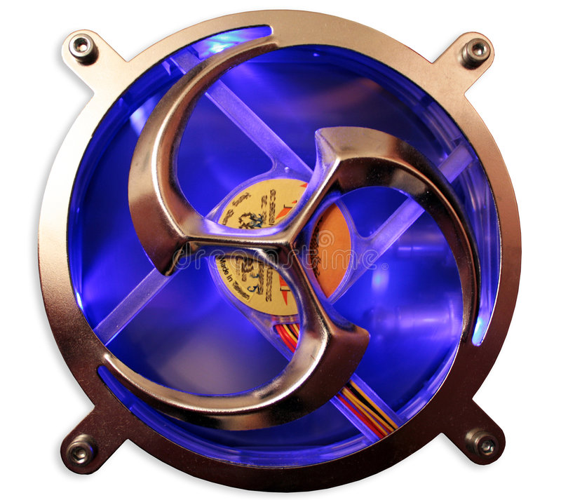 De ventilator met donkerblauwe (geïsoleerdee) verlichting royalty-vrije stock afbeelding