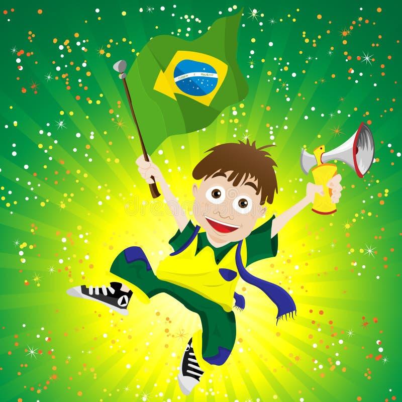 De Ventilator van de Sport van Brazilië met Vlag en Hoorn royalty-vrije illustratie