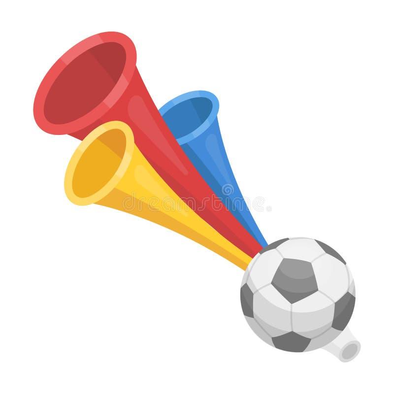 De ventilator van de trompetvoetbal De fans kiezen pictogram in beeldverhaalstijl rater uit, bitmap de illustratie van de symbool royalty-vrije illustratie