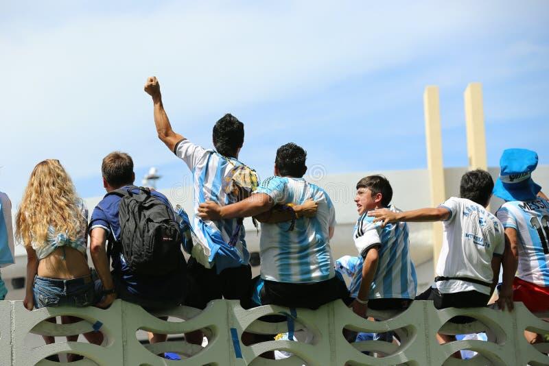 De ventilators van Argentinië op het Strand van Miami stock foto's