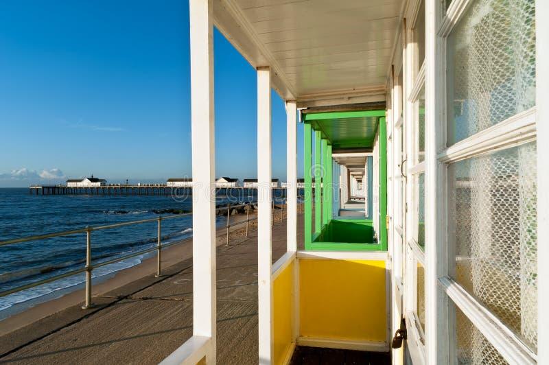 De veranda en sothwold de pijler van de Hut van het strand royalty-vrije stock fotografie