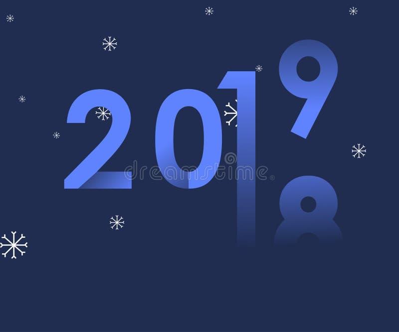 de verandering van 2018-2019 vertegenwoordigt het nieuwe jaar 2019, schone illustratieachtergrond met sneeuw - Vector vector illustratie