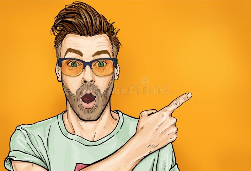 De verbaasde modieuze kerel in glazen met open mond, staart opzij, toont vreemd en onverwacht iets vector illustratie