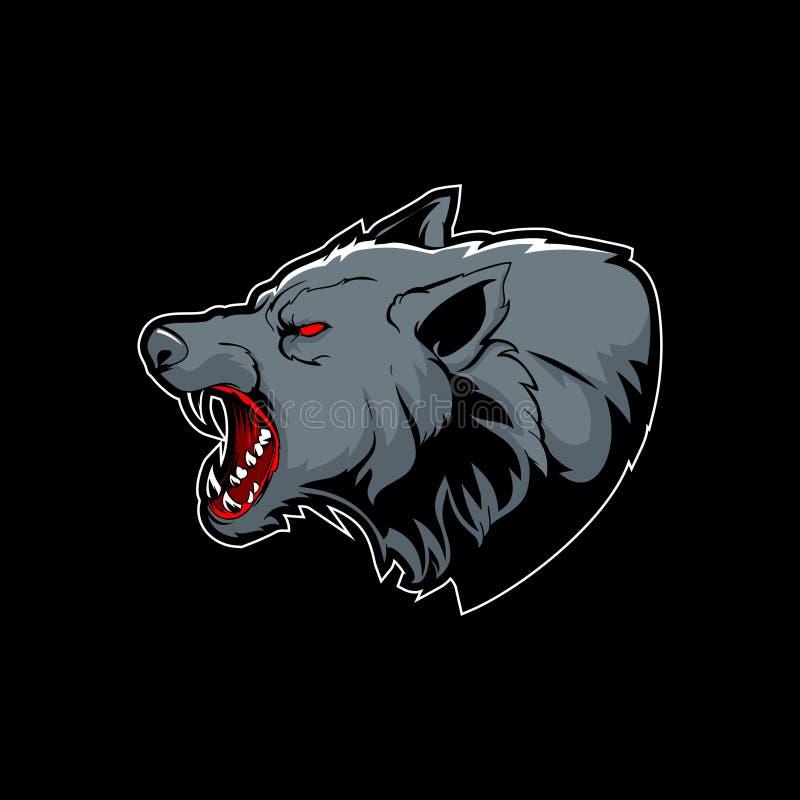 De verbazende agressieve vector van het wolfs hoofdbeeldverhaal vector illustratie
