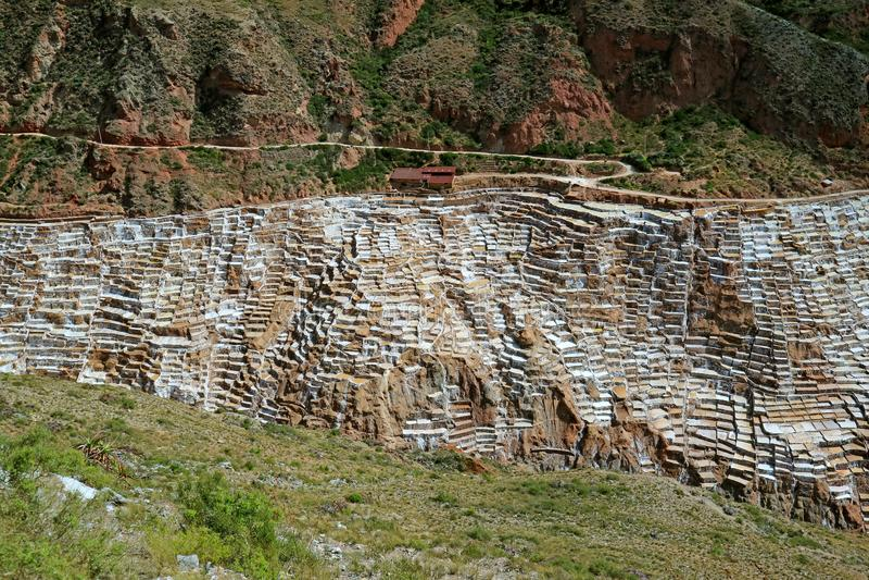 De verbazende mening van Salineras DE Maras, de Zoute Pannen nestelde zich in een Canion van de Heilige Vallei van Incas, Cusco-g royalty-vrije stock foto