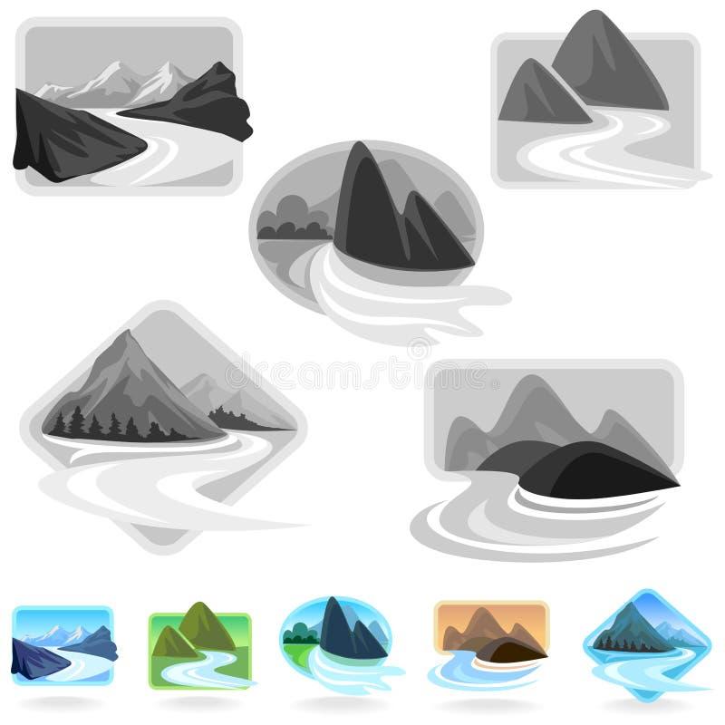 De verbazende Pictogrammen van de Berg en van Heuvels vector illustratie