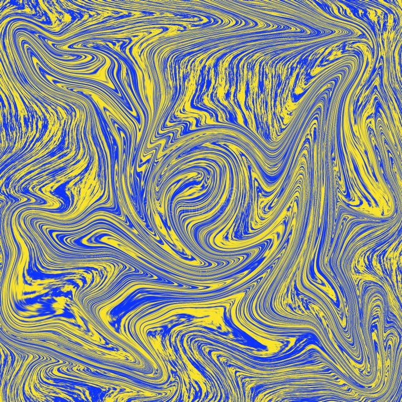 De verbazende vloeibare marmeren textuur is een combinatie geel en blauw royalty-vrije illustratie