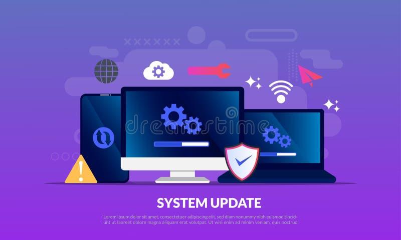 De Verbetering van de systeemupdate software van de Veranderings de Nieuwe Versie Het installeren van updateproces, verbeteringsp royalty-vrije stock afbeeldingen