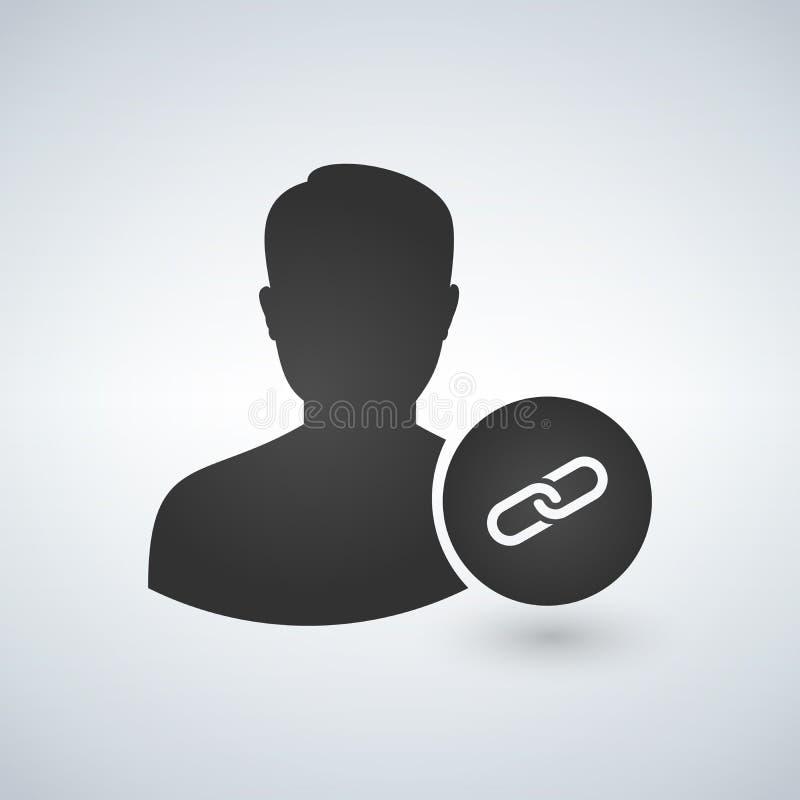 De verbinding maakt gebruikersavatar pictogram vast royalty-vrije illustratie