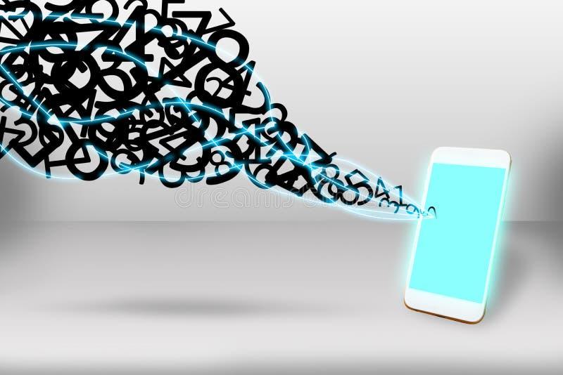 De verbindingsconcept van het gegevensvoorzien van een netwerk, Mobiele telefoon en meer aantal stock fotografie
