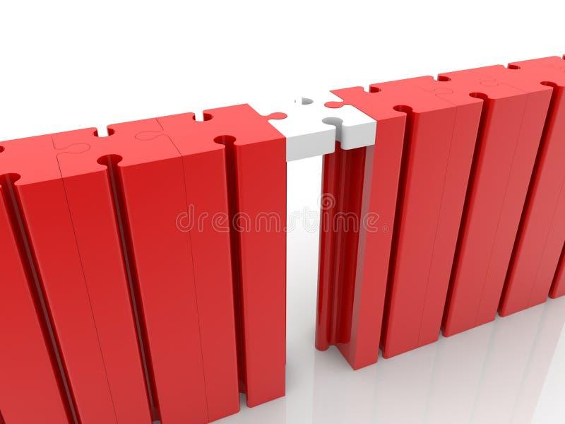 De verbindingsconcept van de raadselbrug in rood en wit royalty-vrije illustratie