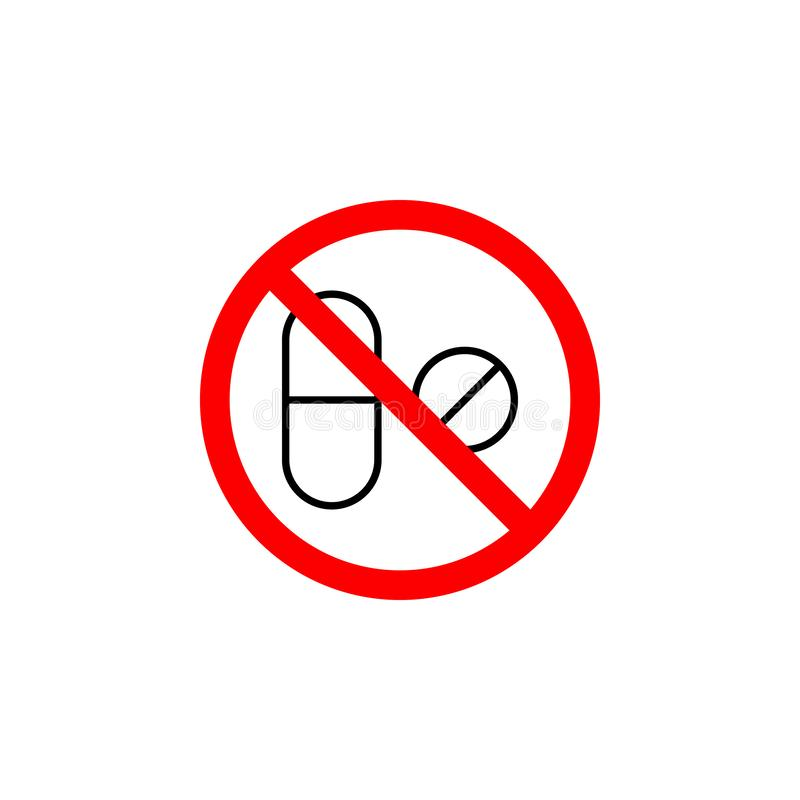 De verboden geneeskunde, pillenpictogram kan voor Web, embleem, mobiele toepassing, UI UX worden gebruikt vector illustratie