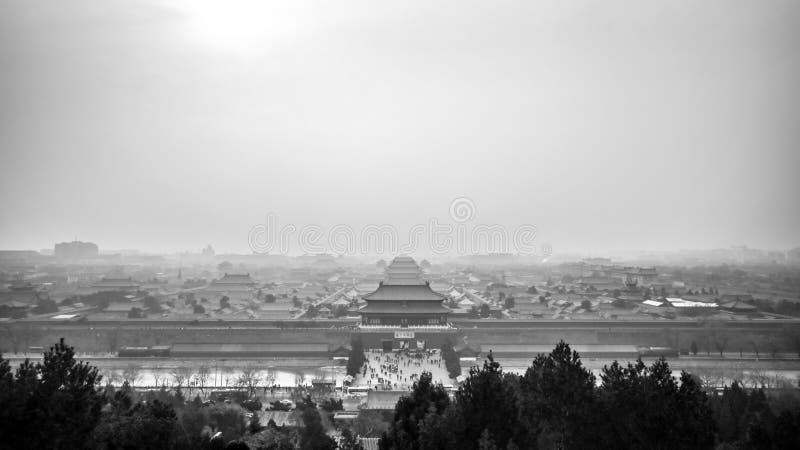 De Verboden Stad in Smog royalty-vrije stock afbeelding