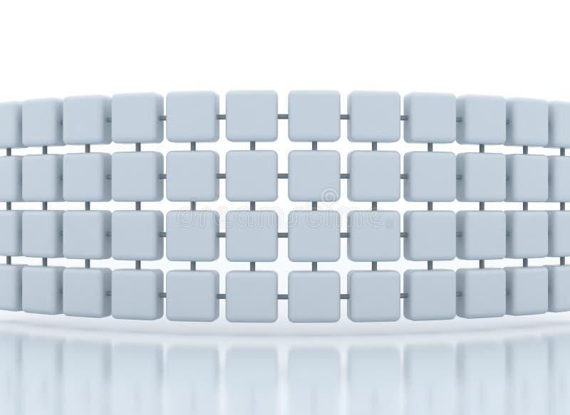De verbonden 3d achtergrond van het kubussennetwerk royalty-vrije illustratie