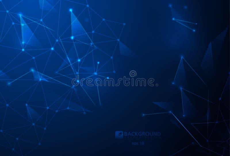 De verbonden vector geometrische achtergrond van de veelhoekenvlecht kan voor wetenschappelijke of technologiepresentaties als mo vector illustratie