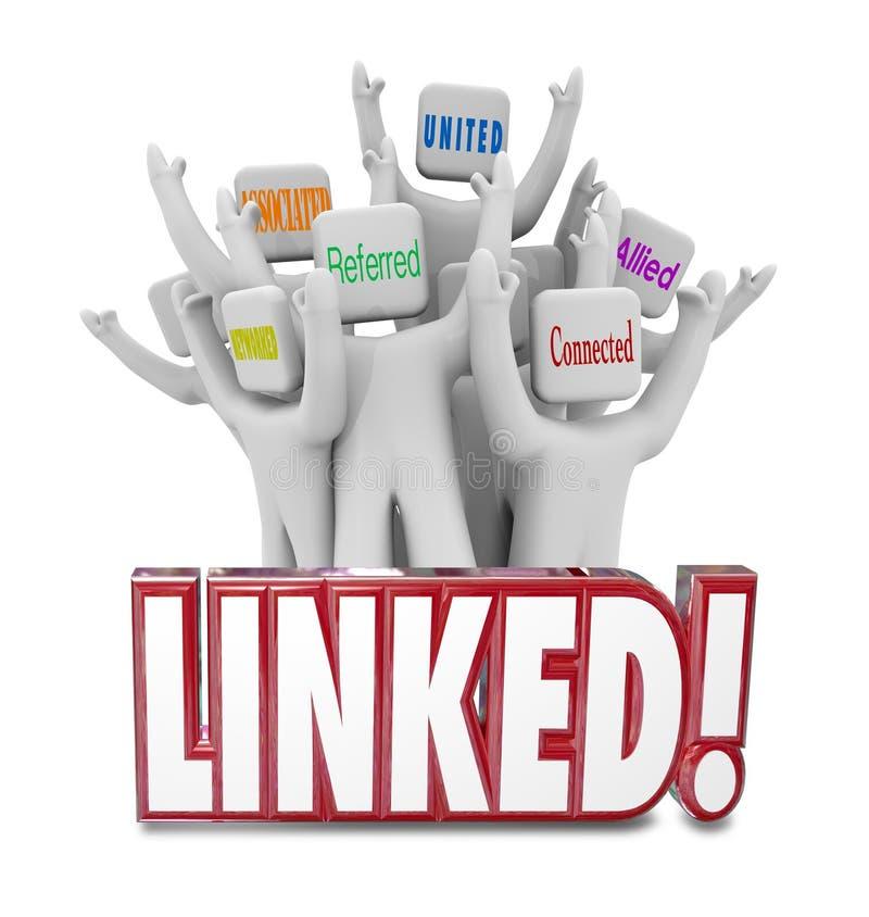 De verbonden Verbonden Woorden verenigden het Verenigde Voorzien van een netwerk van Verwijzingenmensen vector illustratie