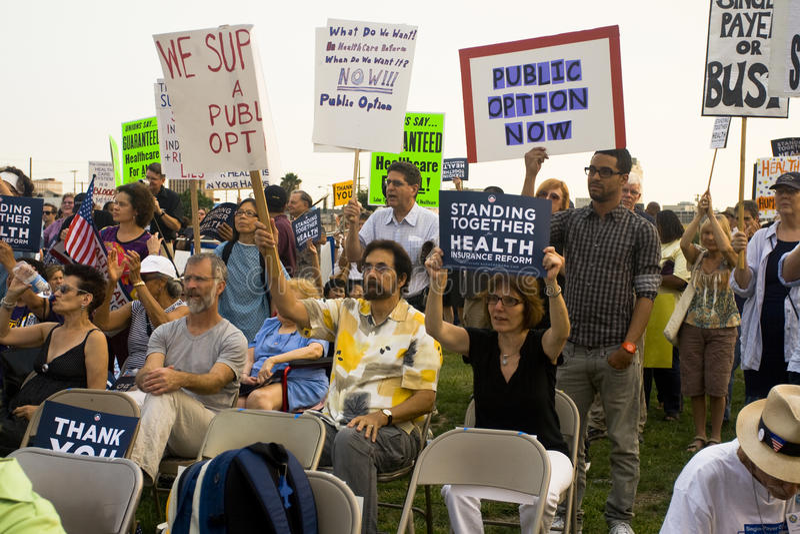 De verdedigers van de gezondheidszorg verzamelen in Los Angeles royalty-vrije stock afbeeldingen