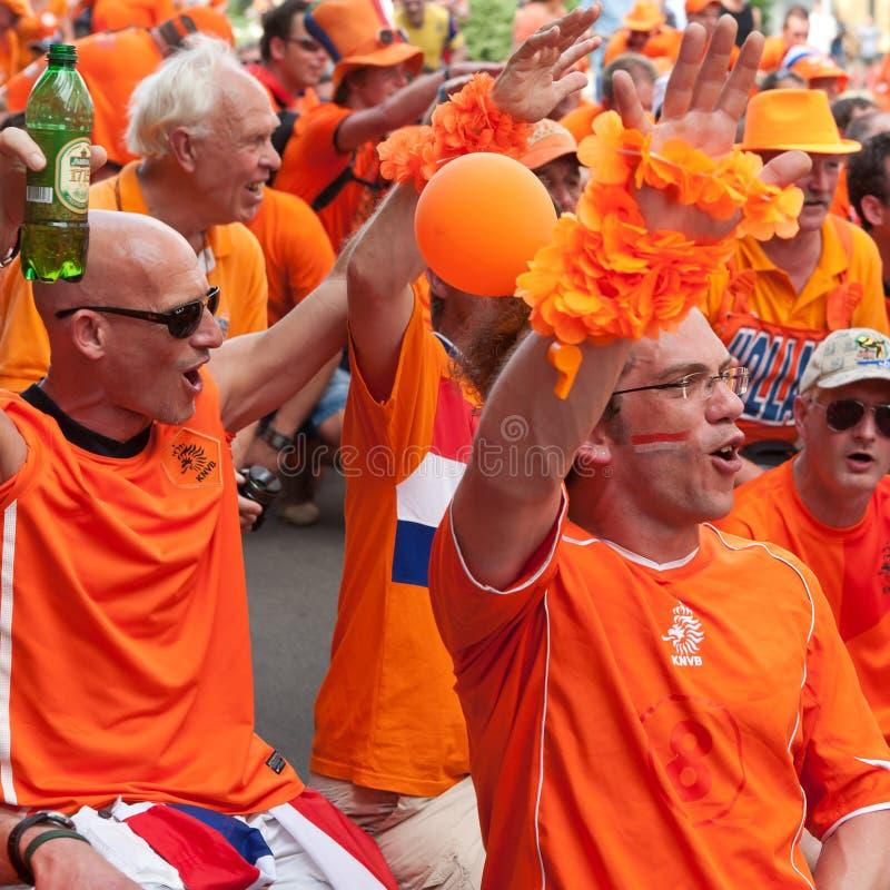 De verdedigers van het de voetbalteam van Holland stock foto
