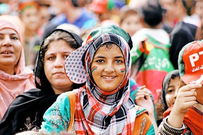De verdedigers van Pakistan tehreek-e-Insaf stock afbeelding