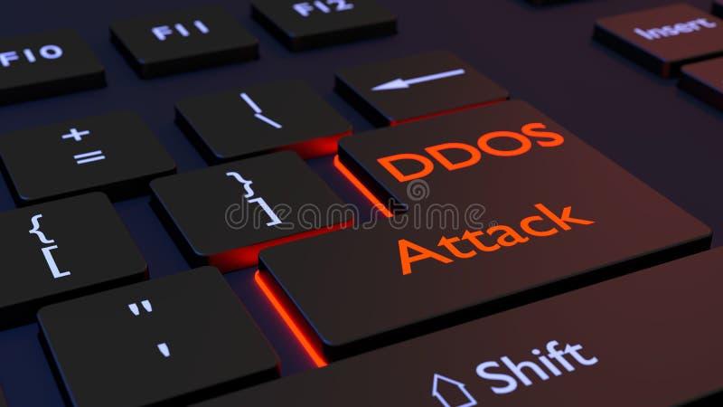 De verdeelde ontkenning van de dienst zwart toetsenbord met DDOS gaat sleutel in stock illustratie