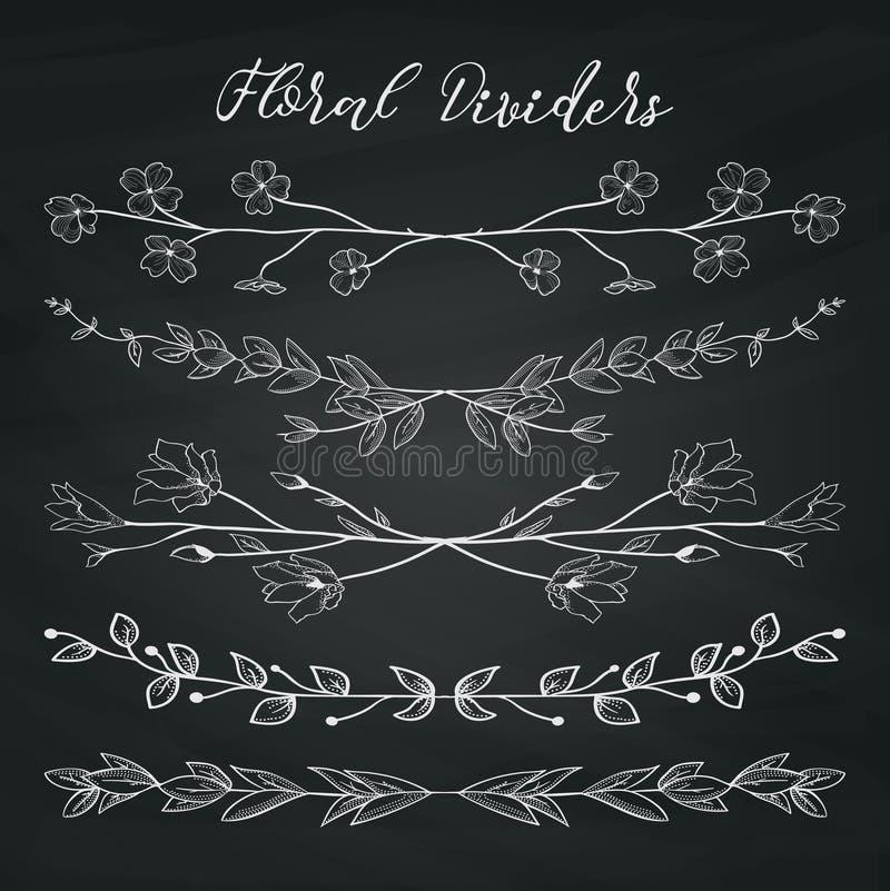 De Verdelers van de krijttekening met Takken, Installaties en Bloemen vector illustratie