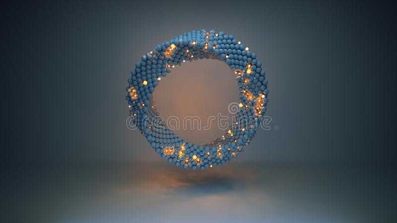De verdraaide ring van gloeiende 3D gebieden geeft illustratie terug vector illustratie