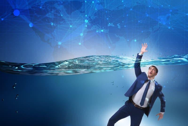 De verdrinkende zakenman in insolventie en faillissementsconcept stock afbeeldingen