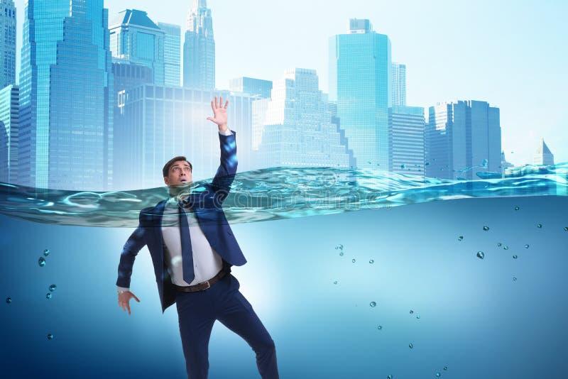 De verdrinkende zakenman in insolventie en faillissementsconcept royalty-vrije stock foto