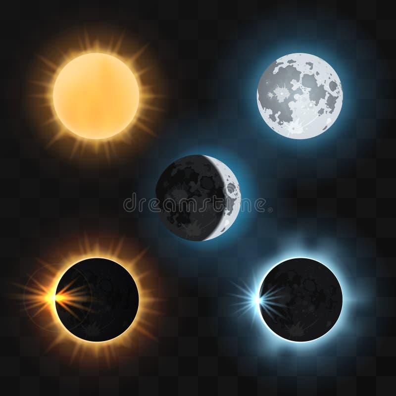 De verduisteringen van de zonmaan Vector illustratie stock illustratie