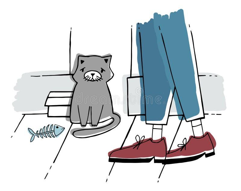 De verdwaalde kat bij straat Dakloos katje met droevige blik Hand getrokken vectorillustratie vector illustratie