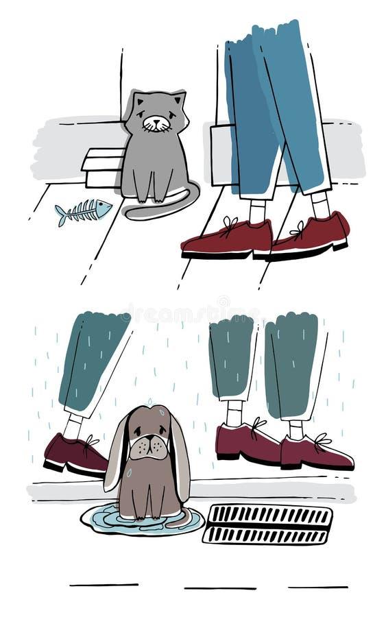De verdwaalde kat en de hond buiten Dakloze huisdieren met droevige blik Hand getrokken vectorillustratie vector illustratie