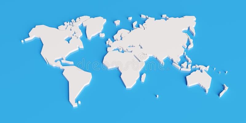 De vereenvoudigde 3d kaart van de wereld, geeft terug vector illustratie