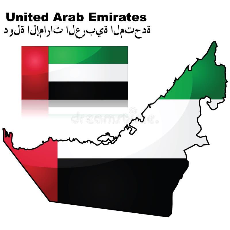 De verenigde Arabische kaart en de vlag van Emiraten royalty-vrije illustratie